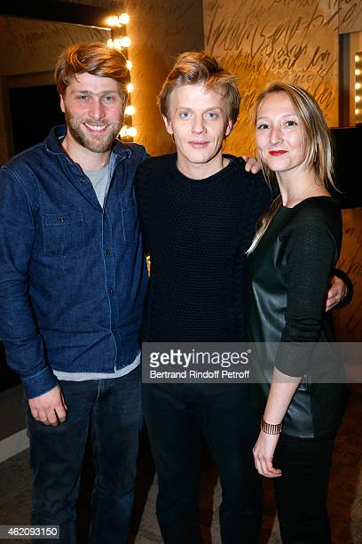Humorist Alex Lutz standing between coautor of the movie 'Le Talent de mes amis' Tom Dingler and actress of the movie Audrey Lamy attend Alex Lutz in...