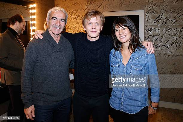 Humorist Alex Lutz standing between Raymond Domenech and his wife Estelle Denis attend Alex Lutz in his One man Show at L'Olympia on January 24 2015...