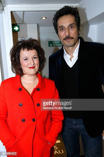 Humorist Anne Roumanoff and Actor Vincent Elbaz attend the 'Vivement Dimanche' French TV Show at Pavillon Gabriel on December 16 2015 in Paris France