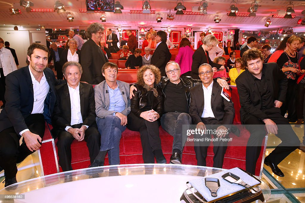 Humorist Ben, <a gi-track='captionPersonalityLinkClicked' href=/galleries/search?phrase=Michel+Drucker&family=editorial&specificpeople=769504 ng-click='$event.stopPropagation()'>Michel Drucker</a>, Main Guest of the show <a gi-track='captionPersonalityLinkClicked' href=/galleries/search?phrase=Nicolas+Hulot&family=editorial&specificpeople=2372364 ng-click='$event.stopPropagation()'>Nicolas Hulot</a>, Journalist mireille Dumas, Actor <a gi-track='captionPersonalityLinkClicked' href=/galleries/search?phrase=Fabrice+Luchini&family=editorial&specificpeople=716653 ng-click='$event.stopPropagation()'>Fabrice Luchini</a>, Writer Yasmina Khadra and Humorist Olivier de Benoist attend the 'Vivement Dimanche' French TV Show at Pavillon Gabriel on November 10, 2015 in Paris, France.
