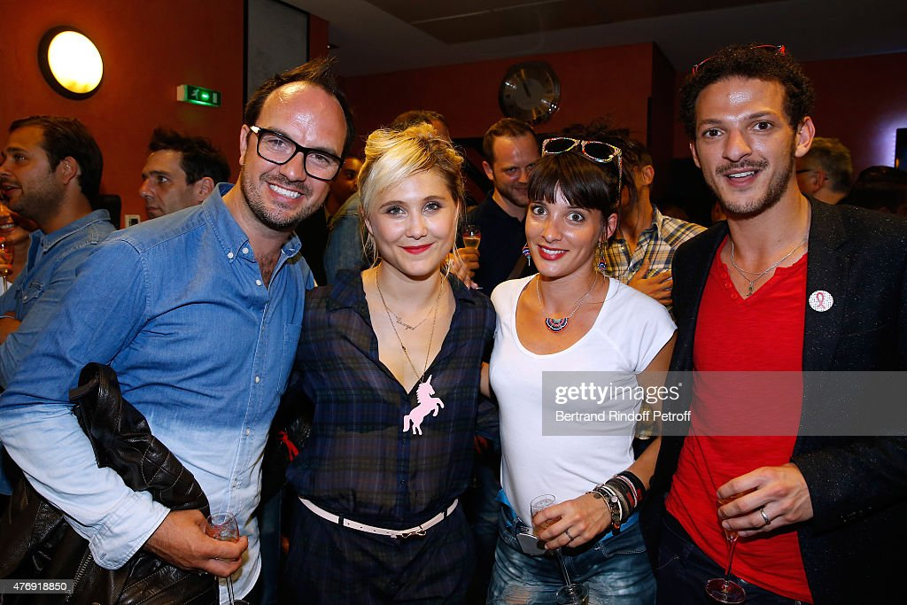 Humorist Berangere Krief (2nd L) poses Backstage with ...