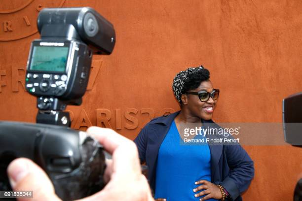 Humorist Claudia Tagbo attends the 2017 French Tennis Open Day Seven at Roland Garros on June 3 2017 in Paris France