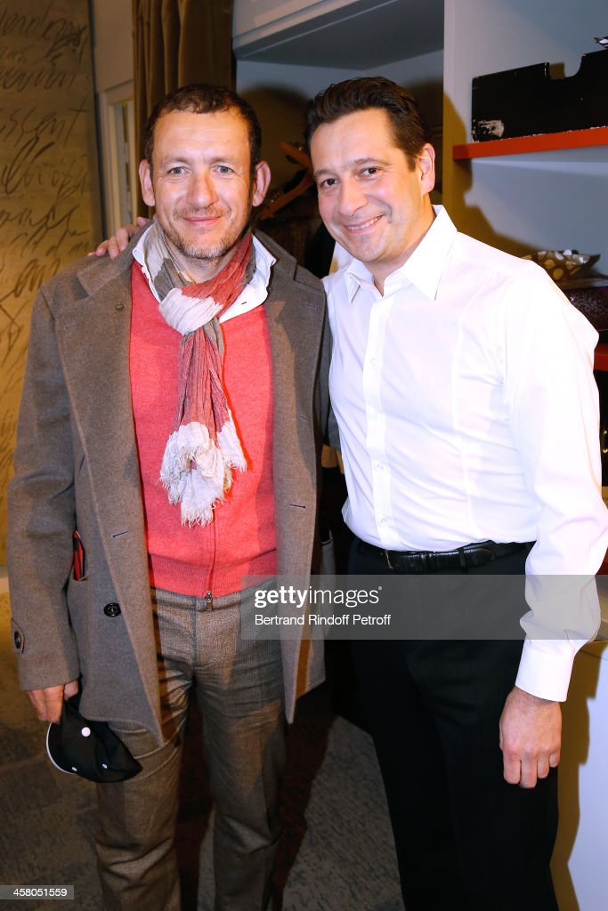 Humorist Dany Boon and Laurent Gerra pose backstage following the show of impersonator Laurent Gerra 'Un spectacle Normal' at L'Olympia on December 19, 2013 in Paris, France.
