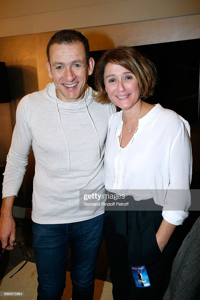 Humorist Dany Boon and TV Host Daniela Lumbroso pose Backstage after the triumph of the 'Dany De Boon Des Hauts-De-France' Show at L'Olympia on November 23, 2016 in Paris, France.