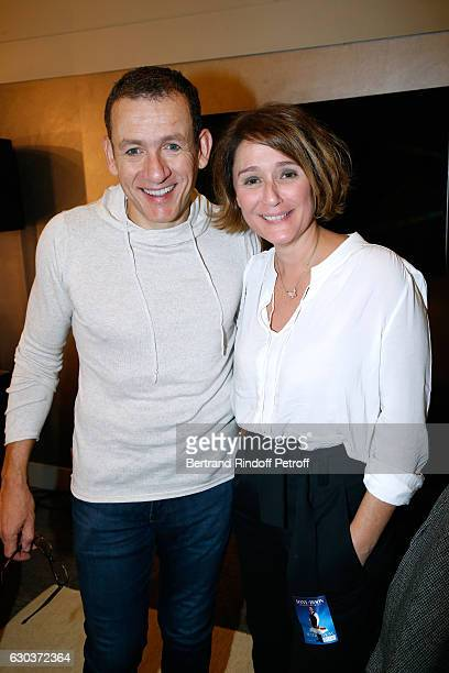 Humorist Dany Boon and TV Host Daniela Lumbroso pose Backstage after the triumph of the 'Dany De Boon Des HautsDeFrance' Show at L'Olympia on...