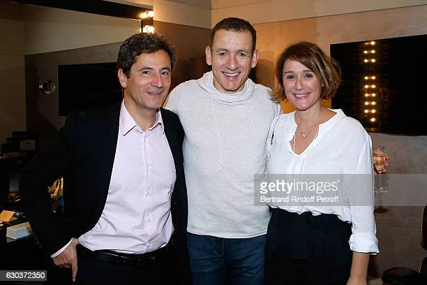 Humorist Dany Boon standing between TV Host Daniela Lumbroso and her husband Eric Ghebali pose Backstage after the triumph of the 'Dany De Boon Des...