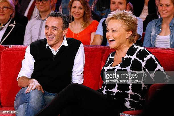 Humorist Elie Semoun and Main Guest of the Show Humorist Muriel Robin attend the 'Vivement Dimanche' French TV Show at Pavillon Gabriel on September...