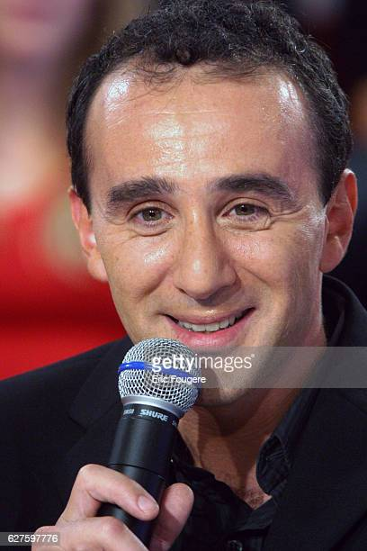 Humorist Elie Semoun appears on the television show 'Vivement Dimanche' whose featured guest is Michèle AlliotMarie the French Defence Minister