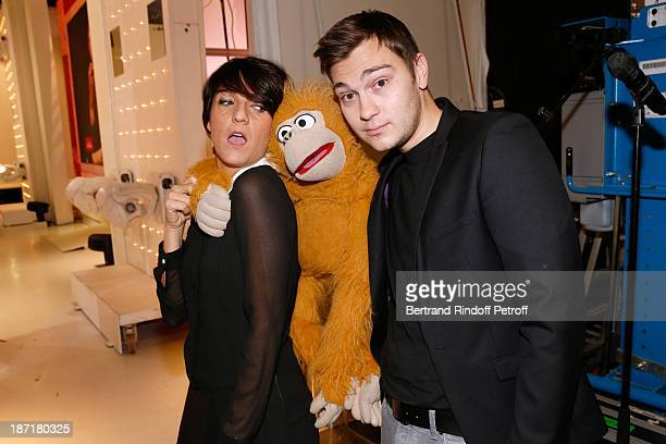 Humorist Florence Foresti with Ventriloquist Jeff Panacloc and his monkey attend the 'Vivement Dimanche' French TV Show at Pavillon Gabriel on...
