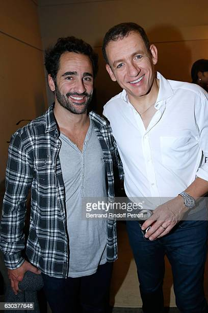 Humorist Florent Peyre and Dany Boon pose Backstage after the triumph of the 'Dany De Boon Des HautsDeFrance' Show at L'Olympia on December 14 2016...