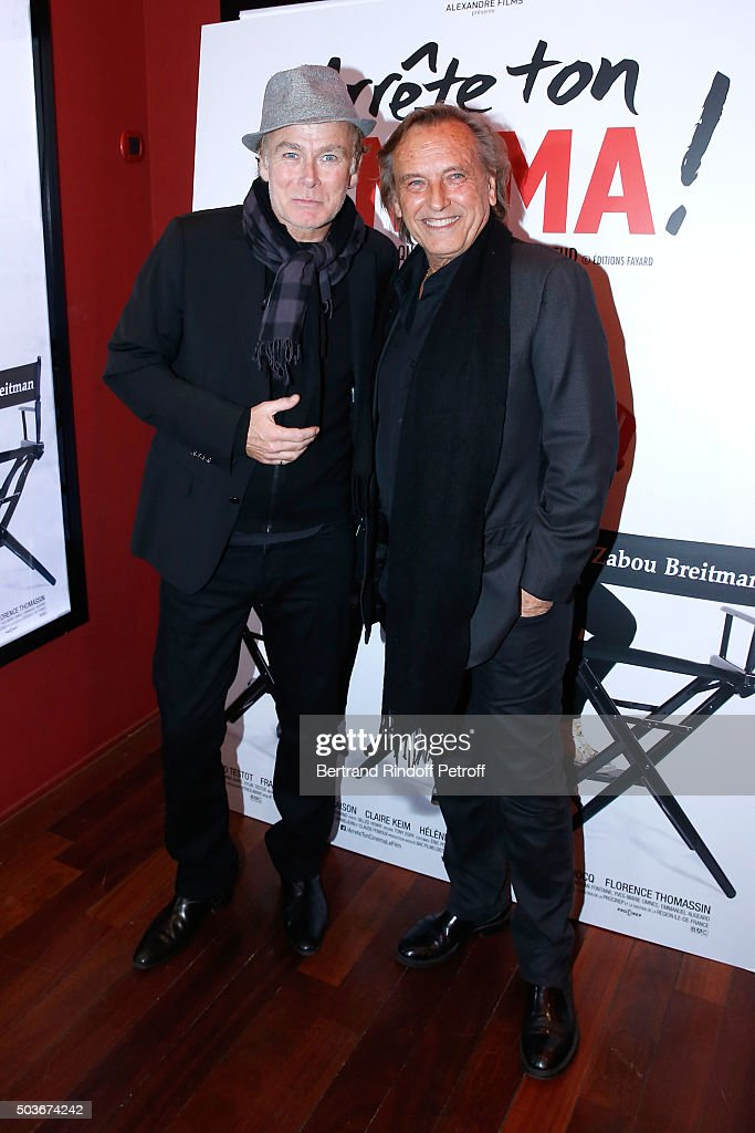 Humorist Franck Dubosc and Director Alexandre Arcady attend the 'Arrete Ton Cinema !' Paris Premiere at Publicis Champs Elysees on January 6, 2016 in Paris, France.