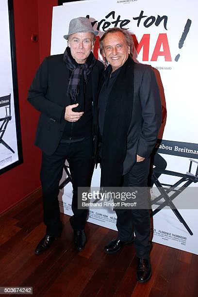 Humorist Franck Dubosc and Director Alexandre Arcady attend the 'Arrete Ton Cinema ' Paris Premiere at Publicis Champs Elysees on January 6 2016 in...