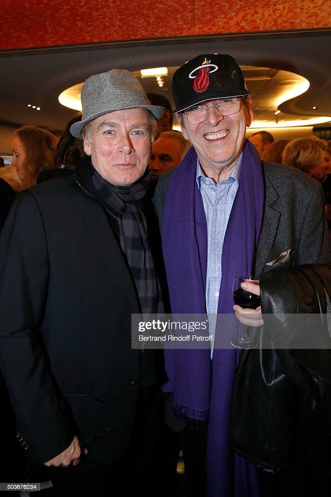 Humorist Franck Dubosc and Director Jean-Marie Poire attend the 'Arrete Ton Cinema !' Paris Premiere at Publicis Champs Elysees on January 6, 2016 in Paris, France.