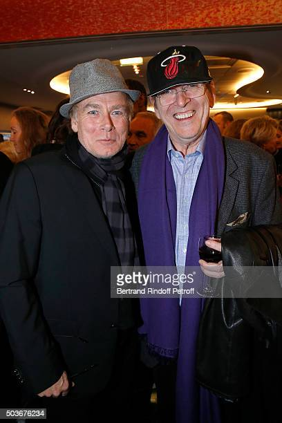 Humorist Franck Dubosc and Director JeanMarie Poire attend the 'Arrete Ton Cinema ' Paris Premiere at Publicis Champs Elysees on January 6 2016 in...