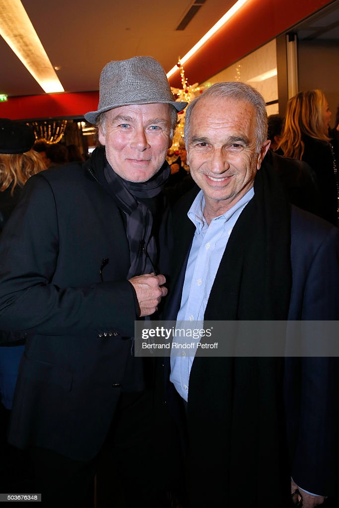 Humorist Franck Dubosc and President of the 'Cesar', the French Academy Awards Alain Terzian attend the 'Arrete Ton Cinema !' Paris Premiere at Publicis Champs Elysees on January 6, 2016 in Paris, France.