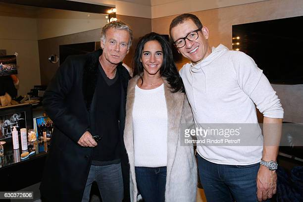Humorist Franck Dubosc his wife Daniele and Humorist Dany Boon pose Backstage after the triumph of the 'Dany De Boon Des HautsDeFrance' Show at...