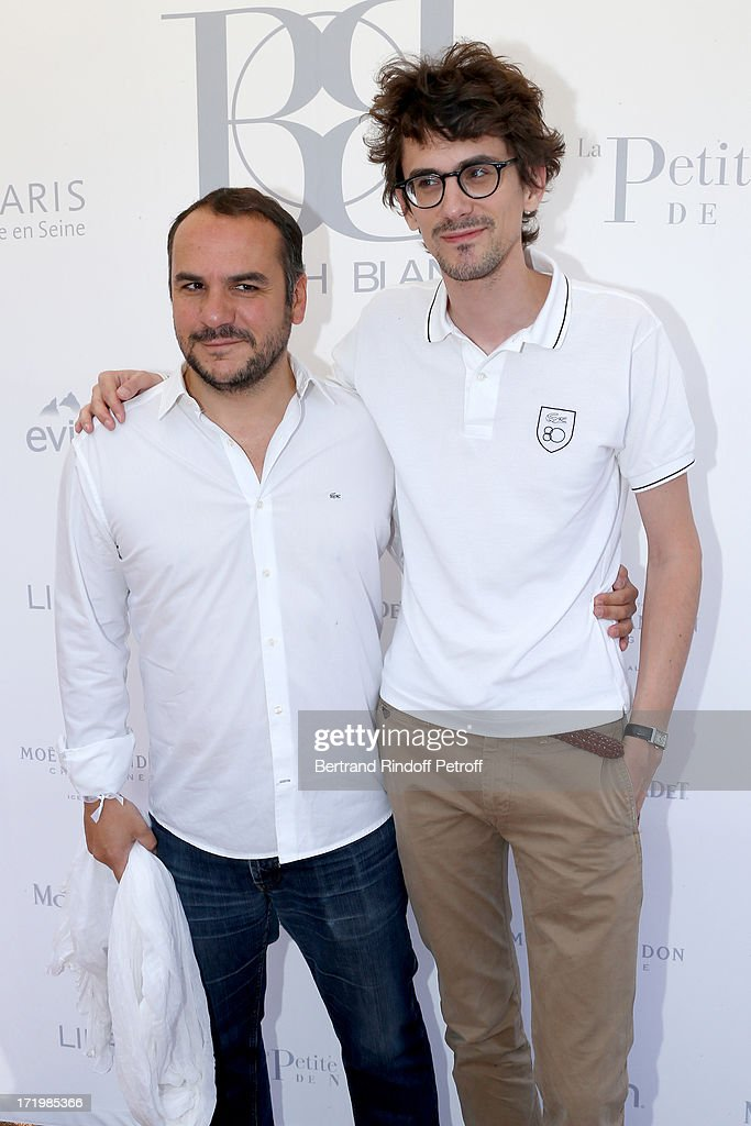 Humorist Francois Xavier Demaison and director Hugo Gelin attends 'Brunch Blanc' hosted by Groupe Barriere for Sodexho with a cruise in Paris on June 30, 2013, France.
