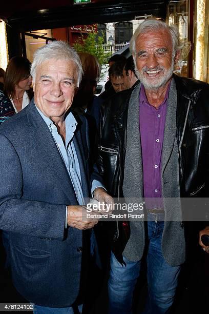 Humorist Guy Bedos and Actor JeanPaul Belmondo attend the 2015 Public performance of 'L'Entree Des Artistes' Held at Theatre de la Gaite Montparnasse...