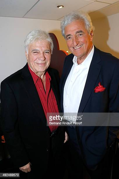 Humorist Guy Bedos and Member of the 'French Academy' JeanLoup Dabadie attend the 'Vivement Dimanche' French TV Show at Pavillon Gabriel on October...