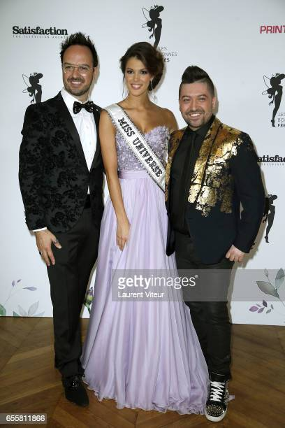 Humorist Jarry Miss Univers 2017 Iris Mittenaere and Dancer Chris Marques attends 'Les Bonnes Fees' Charity Gala at Hotel D'Evreux on March 20 2017...