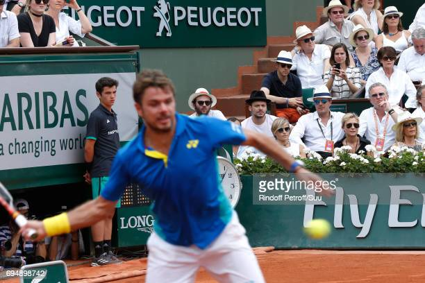 Humorist Kev Adams watches Stan Wawrinka during the Men Final of the 2017 French Tennis Open Day Fithteen at Roland Garros on June 11 2017 in Paris...