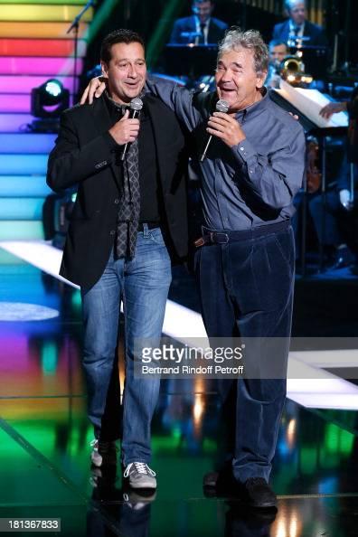 Humorist Laurent Gerra ansd singer Pierre Perret perform at 'Le Grand Show' by Laurent Gerra Rehearsal at La Plaine Saint Denis on September 20 2013...