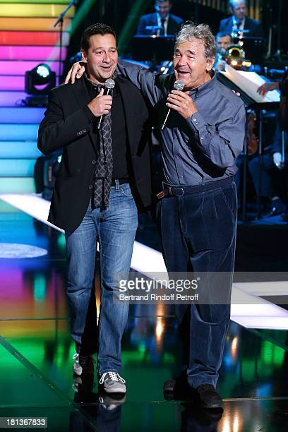 Humorist Laurent Gerra ansd singer Pierre Perret perform at 'Le Grand Show' by Laurent Gerra Rehearsal at La Plaine Saint Denis on September 20 2013...