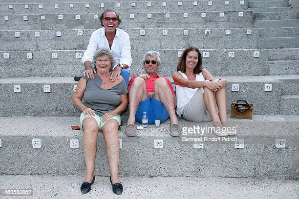 Humorist Michel Leeb his wife Beatrice President of Ramatuelle Festival Jacqueline Franjou and Artistic Director of the Festival Michel Boujenah pose...