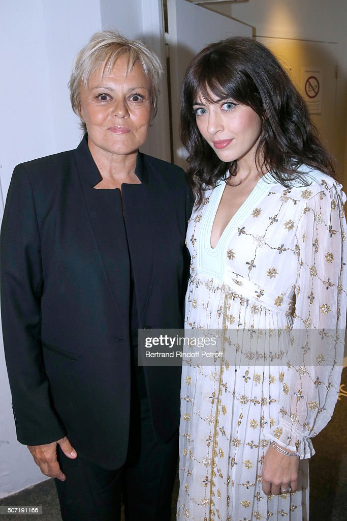 Humorist Muriel Robin and Singer Nolwenn Leroy attend the 'Vivement Dimanche' French TV Show at Pavillon Gabriel on January 27, 2016 in Paris, France.