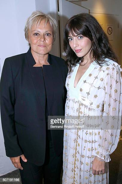 Humorist Muriel Robin and Singer Nolwenn Leroy attend the 'Vivement Dimanche' French TV Show at Pavillon Gabriel on January 27 2016 in Paris France
