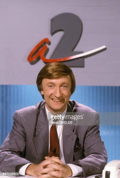 Humorist Olivier Lejeune in TV show Le standard en Folie on Antenne 2 TV channel in January 1988 in Paris France