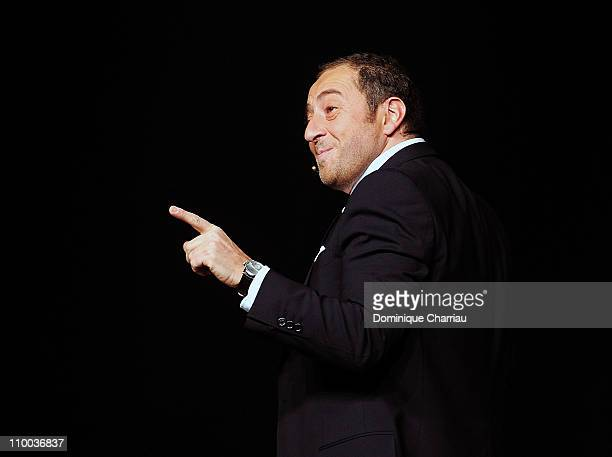 Humorist Patrick Timsit performs on stage during The 27th International Festival MontBlanc Humour in Saint Gervais on March 12 2011 in SaintGervais...
