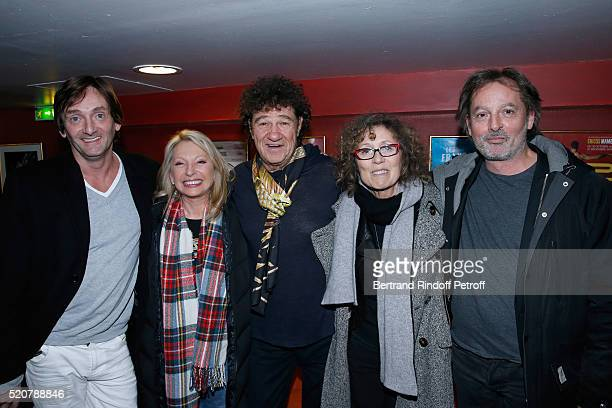 Humorist Pierre Palmade singer Veronique Sanson singer Robert Charlebois journalist Mireille Dumas and Christophe Aleveque pose after the Robert...