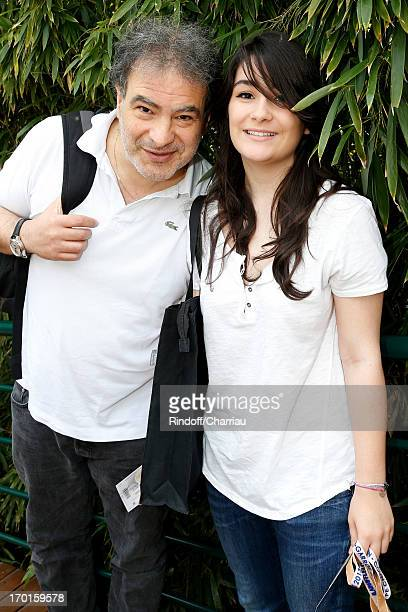 Humorist Raphael Mezrahi and his daughter Fanny sighting at Roland Garros Tennis French Open 2013 Day 14 on June 8 2013 in Paris France