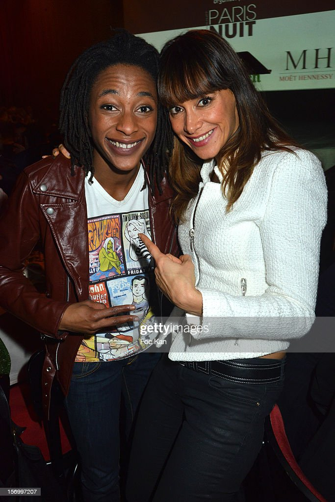 Humorist Shirley Souagnon from Jamel Comedy Club and Karine Lima attend The 'Paris Nuit 2012' - Les Trophees De La Nuit - Night Clubbing Awards Ceremony at the Lido on November 26, 2012 in Paris, France.