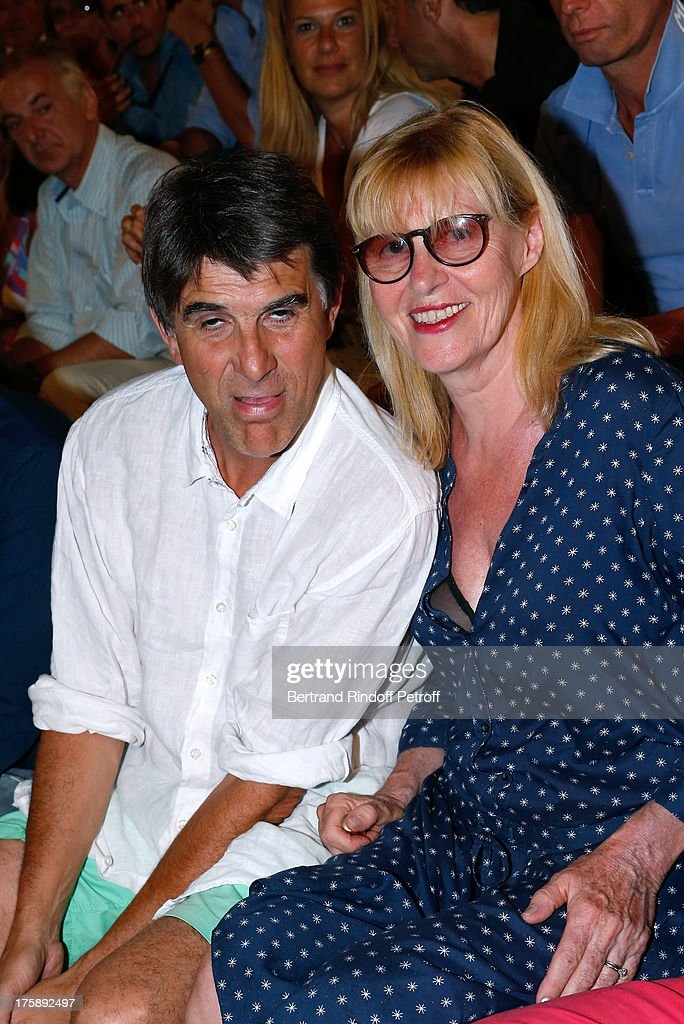 Humorist Tex and actress Chantal Ladesou attend Christelle Chollet one woman show 'The New Show', written and set stage by Remy Caccia at 29th Ramatuelle Festival day 10 on August 9, 2013 in Ramatuelle, France.
