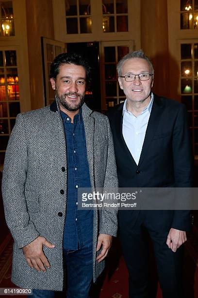 Humorist Titoff and Autor of the piece Laurent Ruquier attend the 'A Droite A Gauche' Theater Play at Theatre des Varietes on October 12 2016 in...
