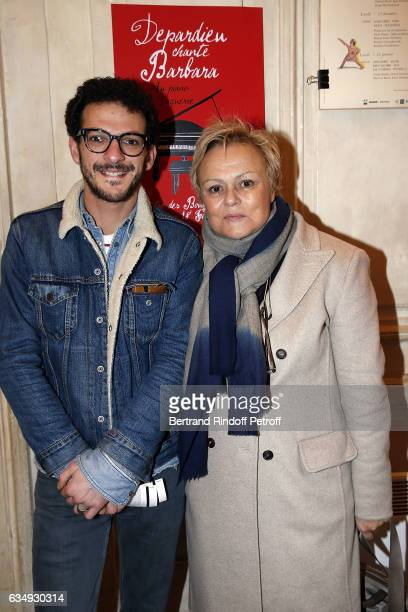 Humorist Vincent Dedienne and Actress Muriel Robin attend 'Depardieu chante Barbara' at Theatre des Bouffes du Nord on February 12 2017 in Paris...