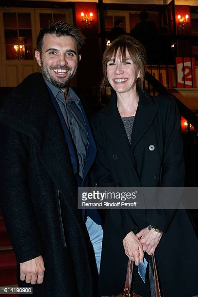 Humorist Virginie Lemoine and guest attend the 'A Droite A Gauche' Theater Play at Theatre des Varietes on October 12 2016 in Paris France