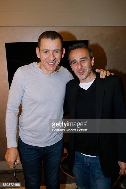 Humorists Dany Boon and Elie Semoun pose Backstage after the triumph of the 'Dany De Boon Des HautsDeFrance' Show at L'Olympia on November 28 2016 in...