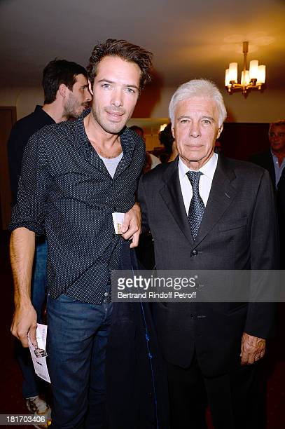 Humorists Guy Bedos and his son Nicolas Bedos attend Muriel Robin show 'Robin revient 'Tsoin Tsoin'' Premiere at Porte SaintMartin Theater in Paris...