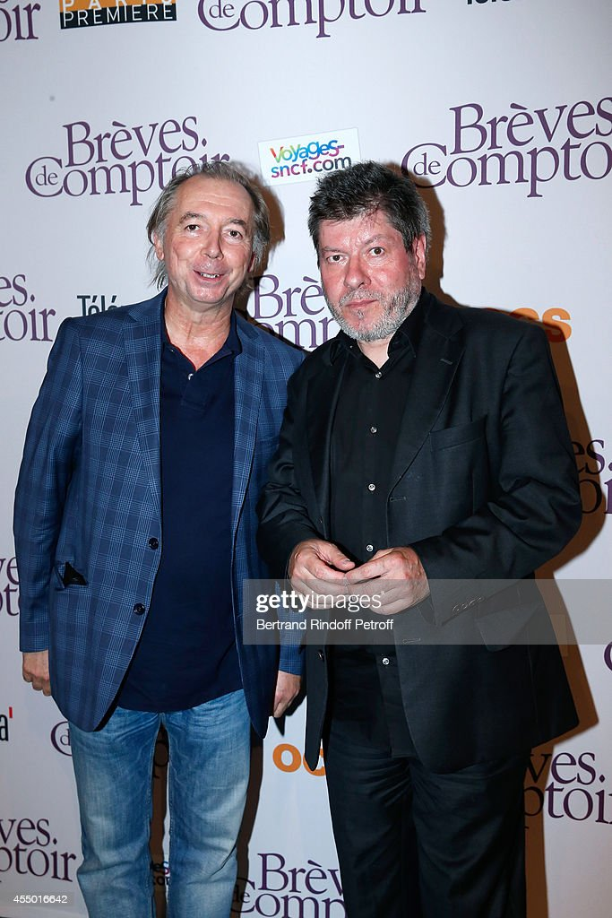 Humorists Philippe Chevallier and Regis Laspales attend the 'Breves de Comptoir' : movie premiere at Theatre du Rond Point on September 8, 2014 in Paris, France.