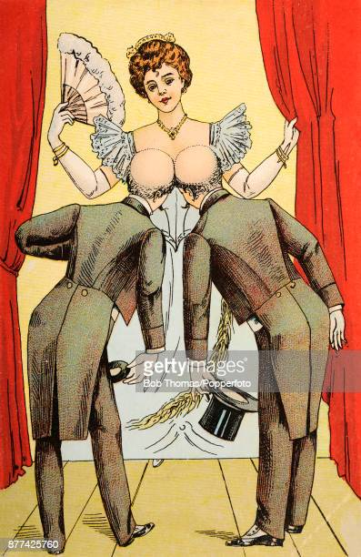 A humorous illustration of two bald men in evening dress peering at a woman's decolletage circa 1905