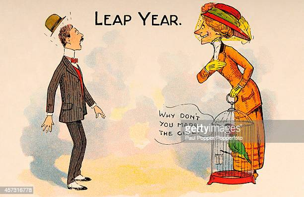 A humorous vintage postcard illustration featuring a hopeful older woman and her parrot anticipating Leap Year and making a marriage proposal circa...