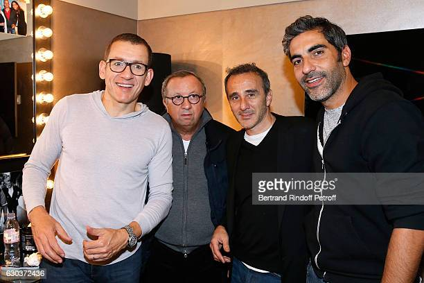 LR Humorsit Dany Boon Doctor Roland Levy humorists Elie Semoun and Ary Abittan pose Backstage after the triumph of the 'Dany De Boon Des...