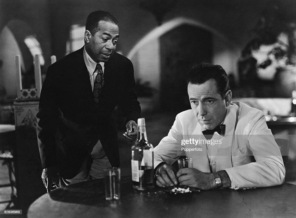 Humphrey Bogart and Dooley Wilson star in the Warner Brothers film 'Casablanca' 1942
