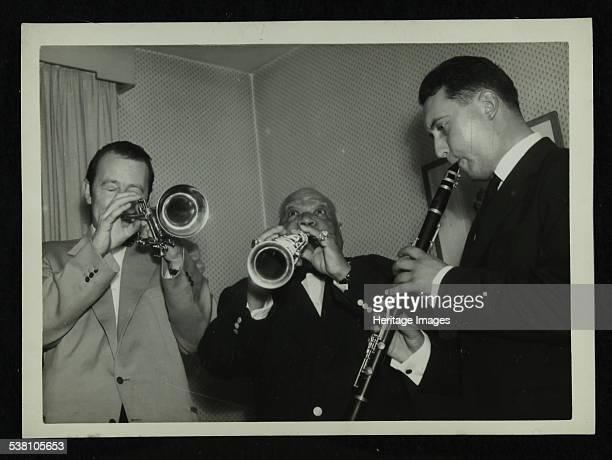 Humphrey Lyttelton Sidney Bechet and unknown clarinetist Colston Hall Bristol 1956 Artist Denis Williams