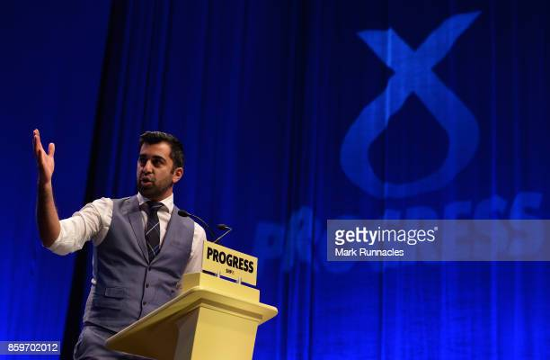 Humza Yousaf MSP Minister for Transport and the Islands speaks to delegates ahead of First Minister SNP Leader Nicola Sturgeon's keynote speech at...