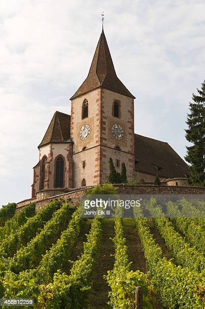 Hunawihr Church across vineyards