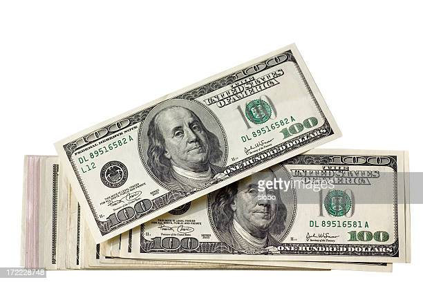 US Hundred Dollar Stack